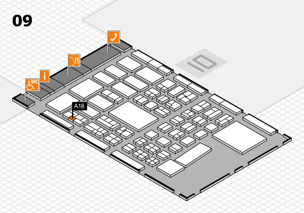 BEAUTY DÜSSELDORF 2017 hall map (Hall 9): stand A18