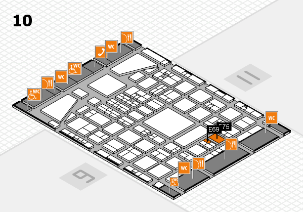 BEAUTY DÜSSELDORF 2017 hall map (Hall 10): stand E69, stand F75