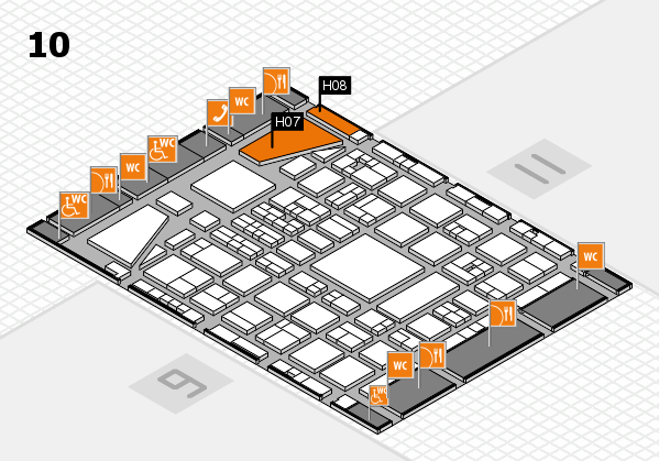 BEAUTY DÜSSELDORF 2017 hall map (Hall 10): stand H07, stand H08