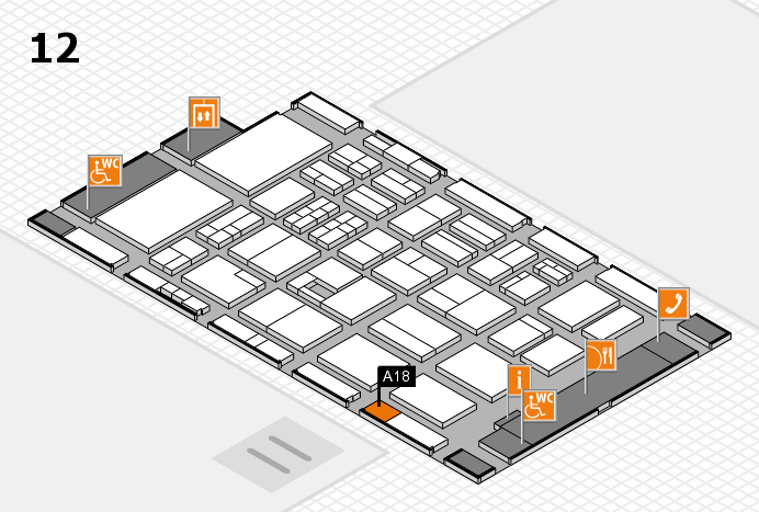 BEAUTY DÜSSELDORF 2017 hall map (Hall 12): stand A18