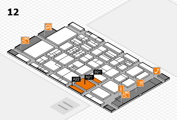 BEAUTY DÜSSELDORF 2017 hall map (Hall 12): stand A21, stand B21