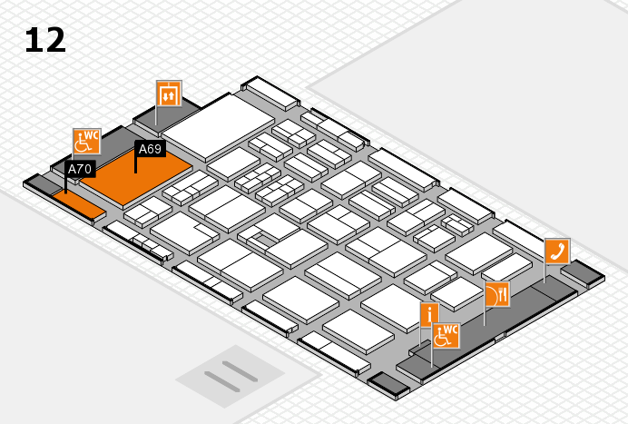 BEAUTY DÜSSELDORF 2017 hall map (Hall 12): stand A69, stand A70