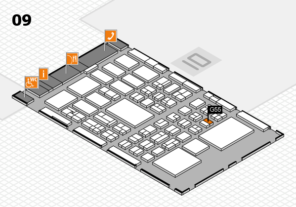 BEAUTY DÜSSELDORF 2018 hall map (Hall 9): stand G55