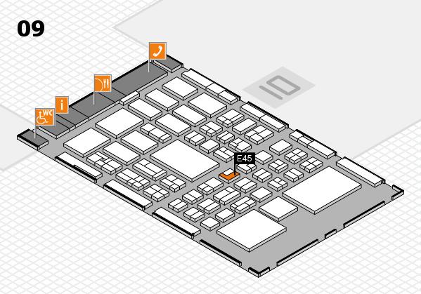 BEAUTY DÜSSELDORF 2018 hall map (Hall 9): stand E45