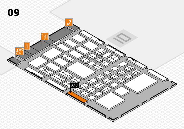BEAUTY DÜSSELDORF 2018 hall map (Hall 9): stand A43