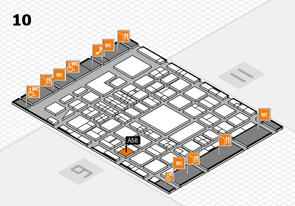 BEAUTY DÜSSELDORF 2018 hall map (Hall 10): stand A58