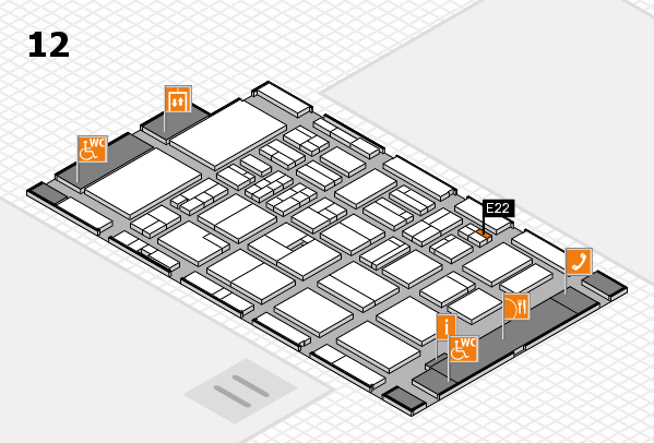 BEAUTY DÜSSELDORF 2018 hall map (Hall 12): stand E22