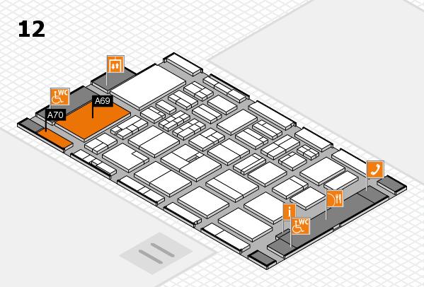 BEAUTY DÜSSELDORF 2018 hall map (Hall 12): stand A69, stand A70