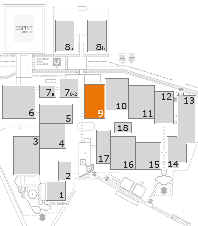 BEAUTY DÜSSELDORF 2018 fairground map: Hall 9
