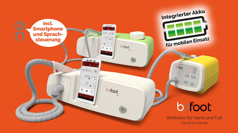 All b-on-foot devices now feature an integrated rechargeable battery to simplify mobile treatments
